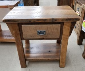 Deluxe Oak Barnwood 1 Drawer Nightstand